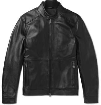 HUGO BOSS Leather Blouson Jacket - Men - Black
