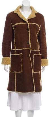 Theory Shearling-Trimmed Suede Coat
