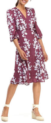 Gal Meets Glam Pansy Ribbons V-Neck 3/4-Sleeve Fit-and-Flare Dress