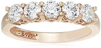 Swarovski -Plated Sterling Silver Zirconia Round-Cut 5 Stone Ring