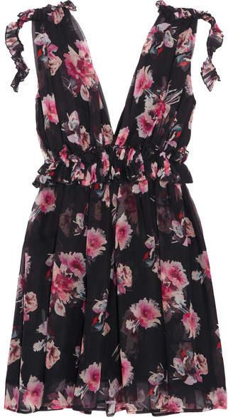 MSGM - Ruffled Floral-print Silk-chiffon Mini Dress - Black