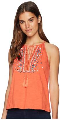 Miss Me Halter Floral Embroidered Top Women's Clothing