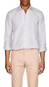 P. Johnson Men's Striped Cotton-Linen Shirt - White Pat.