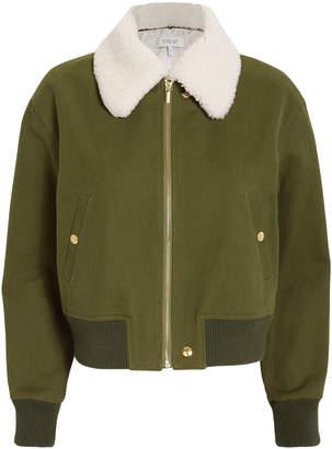 Derek Lam 10 Crosby Shearling Collar Army Green Bomber Jacket