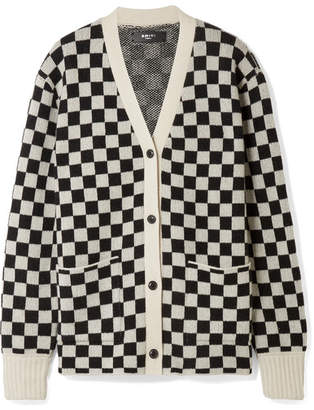 Amiri Checked Cashmere And Wool-blend Cardigan