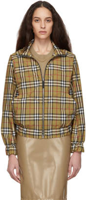 Burberry Beige Vintage Check Harrington Jacket
