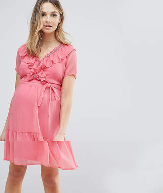 Mama Licious Mama.Licious Mamalicious frill mini tea dress in pink
