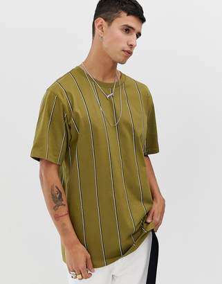 Weekday Frank vertical stripe t-shirt in khaki