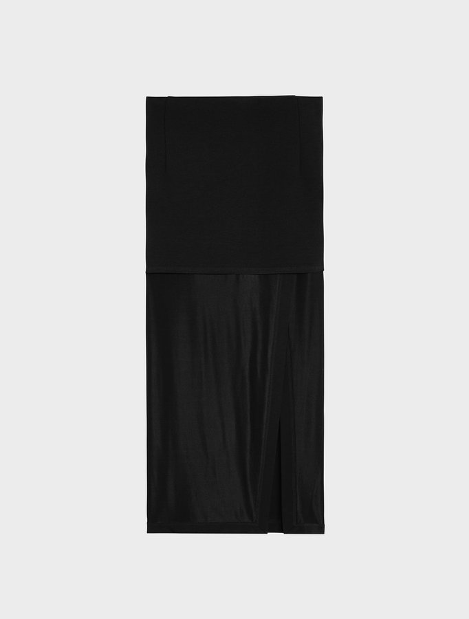 DKNYMidi Skirt With Slit And Combo Fabric