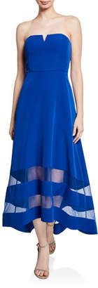Aidan Mattox Strapless High-Low Crepe Dress with Sheer Insets