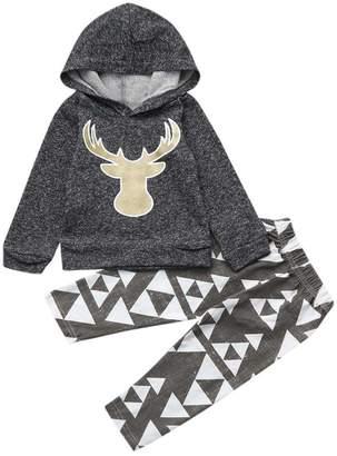 Baby Deer ANBOO 2Pcs Newborn Infant Casual Hooded Tops+Pants Set