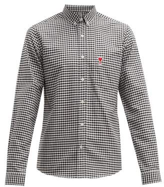 Ami Logo Embroidered Gingham Cotton Shirt - Mens - Black White