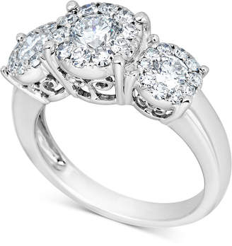 Macy's Diamond Halo Three-Stone Engagement Ring (1-1/2 ct. t.w.) in 14k White Gold