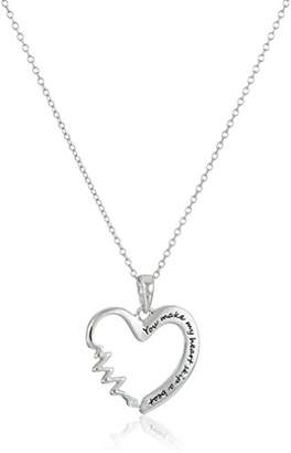"""Sterling Silver Cubic Zirconia""""You Make My Heart Skip A Beat"""" Pendant Necklace"""