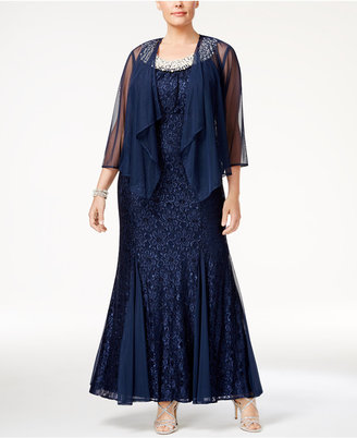 R & M Richards Plus Size Embellished Lace Gown & Jacket $139 thestylecure.com