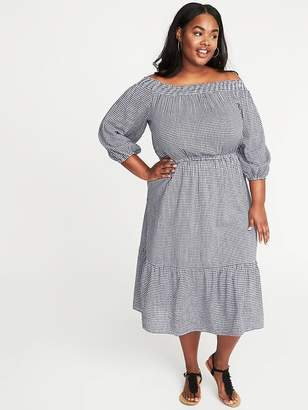 4a84cd52d2 Old Navy Waist-Defined Off-the-Shoulder Plus-Size Gingham Midi Dress