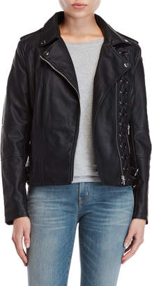 Members Only Black Faux Leather Lace-Up Jacket