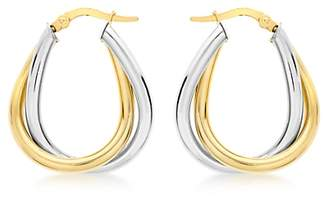 IBB 9ct Gold Two Colour Twined Creole Earrings, White Gold/Gold