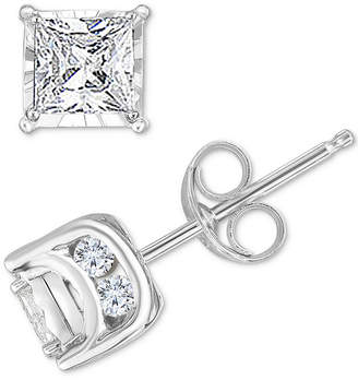 TruMiracle Diamond Princess Stud Earrings (3/4 ct. t.w.) in 14k White Gold
