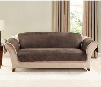 Sure Fit Vintage Faux Leather with Sherpa Pet Sofa Cover