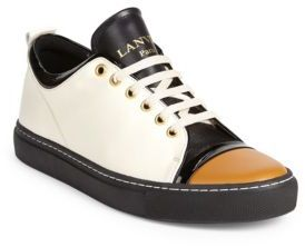 Lanvin Leather Low-Top Cap Toe Sneakers $625 thestylecure.com