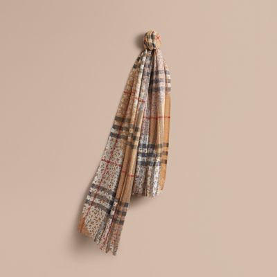 Burberry Burberry Patchwork Floral Check Wool Silk Scarf