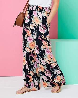 Fashion World Print Crinkle Shirred Waist Trousers