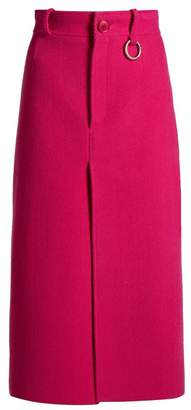 Balenciaga Wool Blend Herringbone Split Front Midi Skirt - Womens - Dark Pink