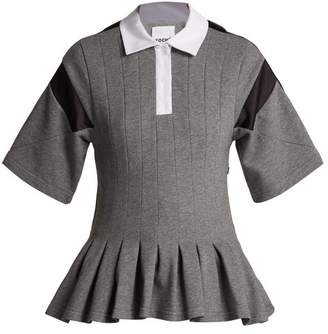 Koché Koche - Pleated Short Sleeve Polo Shirt - Womens - Grey
