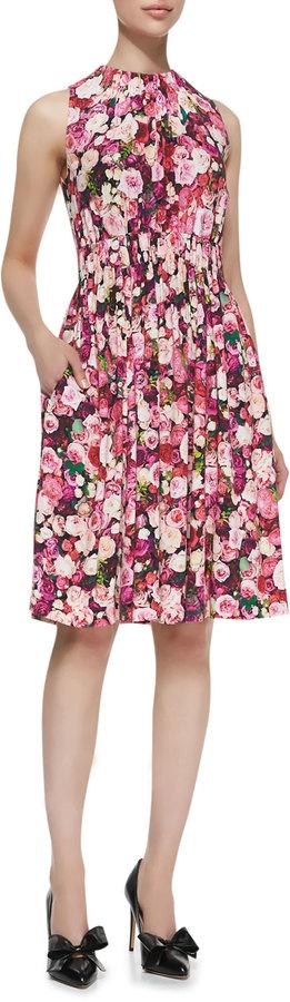 Kate Spade Sleeveless Rose-Print Back-Tie Dress