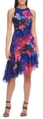 Donna Karan Printed Asymmetric Hem Sleeveless Dress