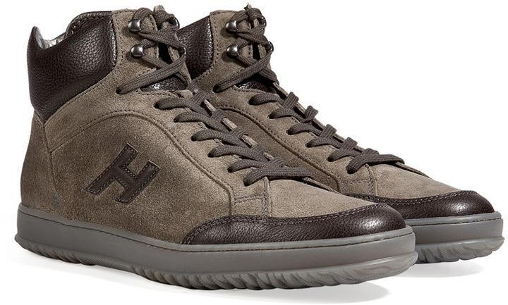 Hogan Suede/Leather Derby Mid Cut Sneakers in Carbone