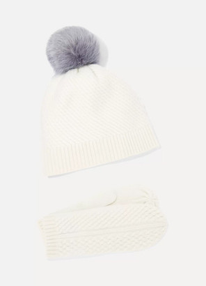 Portolano Cashmere Mittens And Pompom-embellished Beanie Set - White