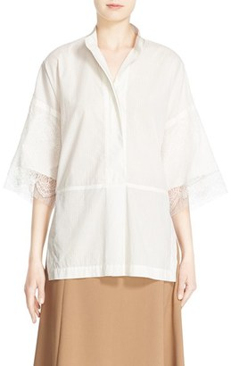 Women's Victor Alfaro Stripe Cotton High/low Shirt With Lace Trim $1,195 thestylecure.com