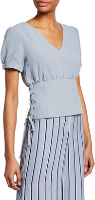 J.o.a. Lace-Up V-Neck Fitted Blouse