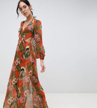 dc9e36c5680 Asos Tall DESIGN Tall glam long sleeve chiffon beach maxi in red tropical  baroque print