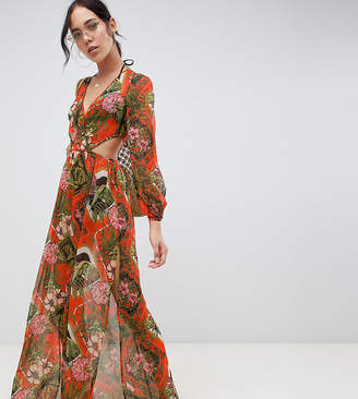 Asos Tall DESIGN Tall glam long sleeve chiffon beach maxi in red tropical baroque print