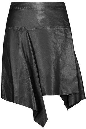 Calliope Asymmetric Pleated Leather Mini Skirt