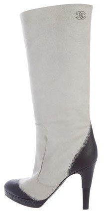 Chanel CC Suede Knee-High Boots