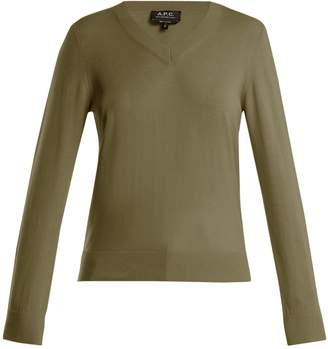 A.P.C. Edina V-neck cotton and cashmere-blend sweater