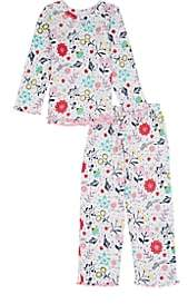 Sara's Prints KIDS' FLORAL COTTON-BLEND PAJAMA SET - WHITE SIZE 5 YRS