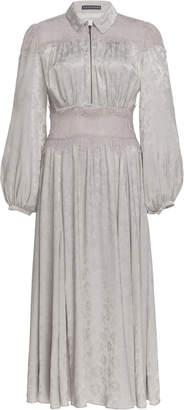 ALEXACHUNG Puffed Sleeve Jacquard Midi Dress