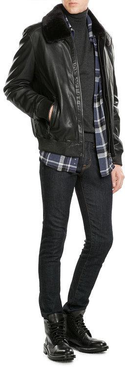 BaldessariniBaldessarini Leather Jacket with Fur Collar