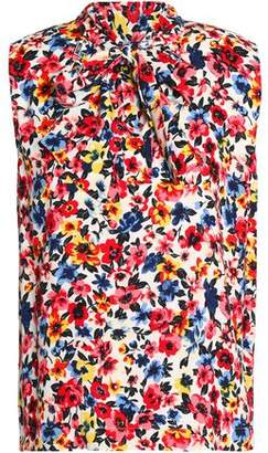 Love Moschino Pussy-Bow Floral-Print Crepe Blouse