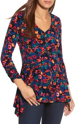 Women's Chaus Floral Field Ruched Handkerchief Top $59 thestylecure.com