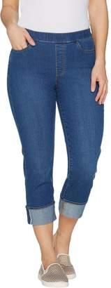 Susan Graver Stretch Denim Pull-On Cuffed Crop Pants - Petite