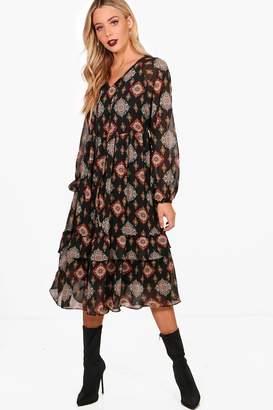 boohoo Bohemian Print Ruffle Hem Smock Dress