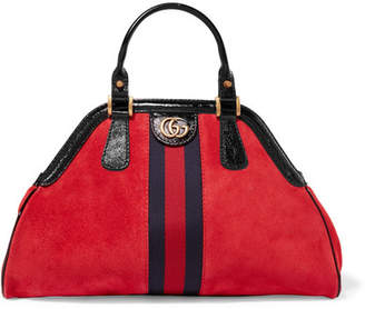Gucci Re(belle) Small Patent Leather-trimmed Suede Tote - Red