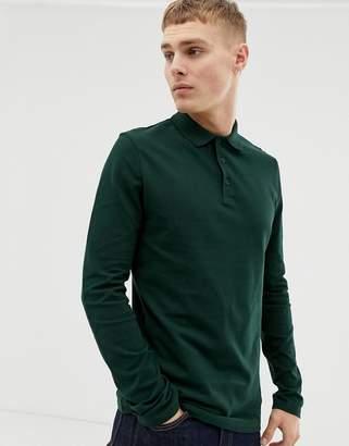 Asos Design DESIGN long sleeve pique polo in green