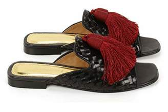 Anna Ricci Woven Leather Open Toe with Tassels - Black Maroon